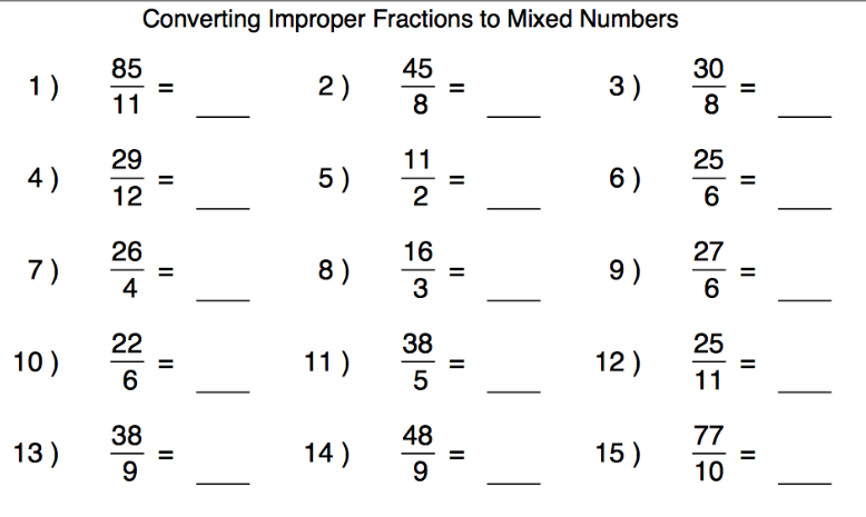 Math 7 Alice Brown Elementary – Mixed to Improper Fractions Worksheets